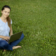 Young woman with laptop on green grass — Stock Photo #27427141