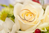 Wedding rings and flowers — 图库照片
