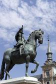 Skulptur des Königs Philipp Iii., Plaza Mayor - Madrid — Stockfoto