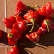 Small red peppers on ceramic tile — Stock Photo
