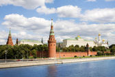 General view at Moscow kremlin and Moskva river in Russia — Stock Photo