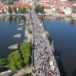 Charles Bridge, view from the tower. Prague, Czechia. — Foto de Stock