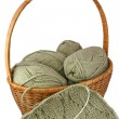 Knitting basket with skeins and needlework. — Stock Photo
