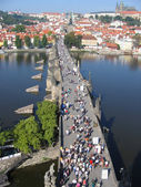 Charles Bridge, view from the tower. Prague, Czechia. — Stockfoto