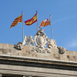 Three flags at Barcelona city hall. — Stock Photo