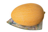 The muskmelon on the plate isolated on white background — Stock Photo