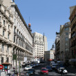 Stock Photo: Sevillstreet in center of Madrid with contrast of alight