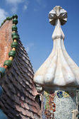 Dragon form roof fragment of Casa Batllo by Antoni Gaudi. — Stock Photo