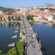 Foto Stock: Charles Bridge, view from tower. Prague, Czechia.