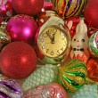 Clock and ornaments for a Christmas tree — Stock Photo