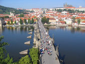 Charles Bridge, view from the tower. Prague, Czechia. — Zdjęcie stockowe