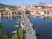 Charles överbryggar, utsikten från tornet. prague, tjeckien. — Stockfoto