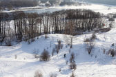 Winter landscape with a river. — Stock Photo