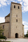 The tower of Ottmarsheim abbey church in France — ストック写真