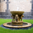 The Lion fountain in the courtyard of the Maria Laach abbey in Germany — Stock Photo
