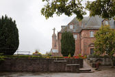 Mont Sainte-Odile abbey in a foggy day. Alsace, France — Stock Photo