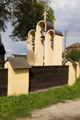 The belfry of a church in Tum, Poland — Stock Photo