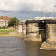 Cityscape with the Augustus Bridge over Elbe river in Dresden, Germany — Stock Photo