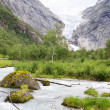 The mountain landscape with the Briksdal glacier in Norway — Stock Photo