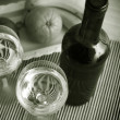 Still life with wine bottles and glasses  — Stock Photo