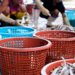Fishermen sorting fish — Stock Photo