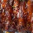Grilled juicy barbecue pork ribs — Stock Photo