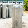 Stock Photo: Metal scubdiving oxygen tanks