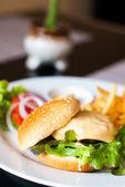 Cheeseburger et des frites — Photo
