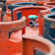 Valves of LPG cylinders red and Blue — Stock Photo #41900629