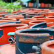 Valves of LPG cylinders red and Blue — Stock Photo #41900771
