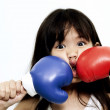Kid boxing : knock me down — Stock Photo
