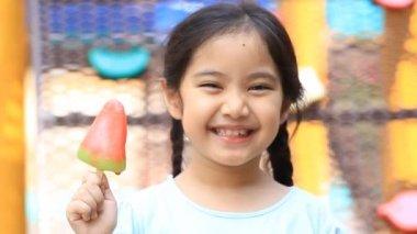 Asian kid enjoy with icecream — Stock Video