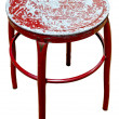 Old metal red chair on isolate white background — 图库照片