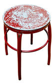 Old metal red chair on isolate white background — Stock Photo