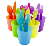 Spoon fork cup and bowl Plastic ware with white isolate backgrou — Stock Photo
