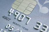 Lage belangrijke macro geschoten met oude creditcard. — Stockfoto
