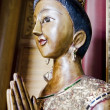 Stock Photo: Wood handmade.Sculptures in temple. Thai style acting Wai (