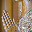 Wood handmade.Sculptures in the temple. Thai style  acting Wai ( — Stock Photo