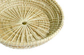 Brown wicker basket on white background — Stockfoto