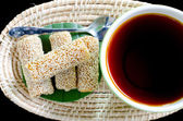 Cup of tea with Sesame Cookies — Stock Photo