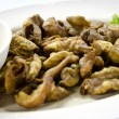 Thai Esan Food ,Fried Chicken intestine with sauce — Stock Photo