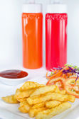 French Fries on plate and Ketchup — Stock Photo