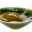 Stock Photo: Green ceramic bowl white isolate background