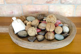 Decoration wicker basket with dry plants — Stock Photo