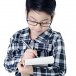 Cute little account boy with eye glasses isolate on white backgr — Stock Photo