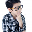 Cute little boy with eye glasses isolate on white background .  — Stock Photo