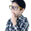 Cute little boy look like think about that with eye glasses isol — Stock Photo