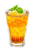 Glass of ice tea with mint on white background — Foto Stock