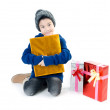 Stock Photo: Little asian cute boy with gift box