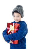 Little asian cute boy with gift box — 图库照片